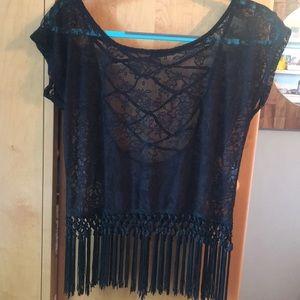 Boho Black Lace Top with Fringe